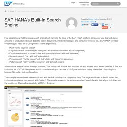 SAP HANA's Built-In Search Engine - SAP HANA