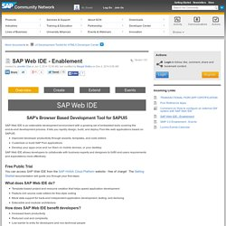 SAP Web IDE - Enablement
