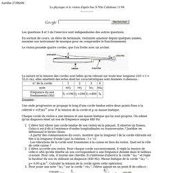 La physique et le violon d'apr s bac S Nlle Cal donie 11/04 dip le (RL) ; cin tique de la saponification de l' thanoate d' thyle d'apr s bac Am rique du Sud 2005 oscillateur solide ressort ; le dihydrog ne : : pile combustible et lectrolyse d'apr s bac