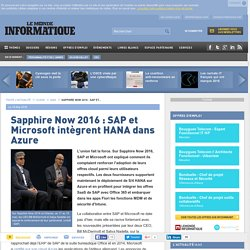 Sapphire Now 2016 : SAP et Microsoft intègrent HANA dans Azure
