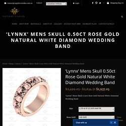 Sapphire Studios Mens Skull Ring Rose Gold Natural White Diamond Wedding Band