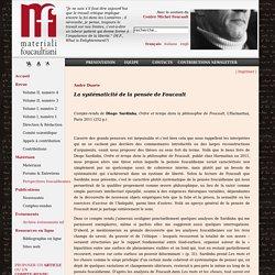 Ordre et temps dans la philosophie de Foucault (1)