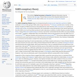 WIKIPEDIA - SARS conspiracy theory.