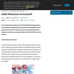 NATURE 10/07/03 SARS: What have we learned?