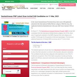 Saskatchewan PNP Latest Draw invited 248 Candidates on 11 Mar 2021