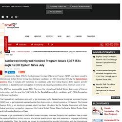 Saskatchewan Immigrant Nominee Program Issues 3,337 ITAs