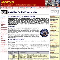 Satellite Frequencies - 150 MHz and 400 MHz