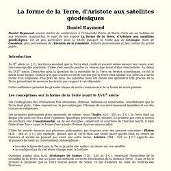 La forme de la Terre, d'Aristote aux satellites géodésiques