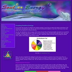 Create Positive Energy by using the Life Satisfaction Tool, the bagua, space clearing, smudging, choosing bagua and energy cures offered by Soular Energy Holistic Health Enterprises