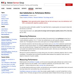 User Satisfaction vs. Performance Metrics