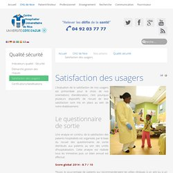 Satisfaction des usagers