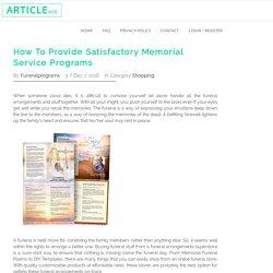 How To Provide Satisfactory Memorial Service Programs