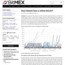 Does Satoshi have a million bitcoin?