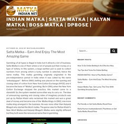 Satta Matka - Earn And Enjoy The Most Amazing Game