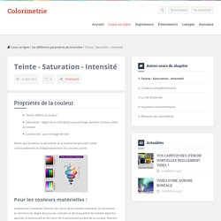 Cours : Teinte - Saturation - Intensité - Colorimetrie