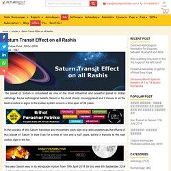 Saturn Transit Effect on all Rashis