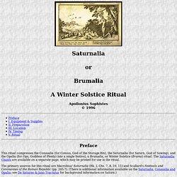 Saturnalia - A Winter Solstice Ritual