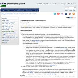 FSIS USDA 07/03/17 Export Requirements for Saudi Arabia