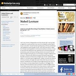 Saul Bellow - Nobel Lecture