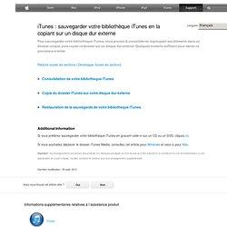iTunes: sauvegarder votre bibliothèque iTunes en la copiant sur un disque dur externe