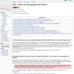 FAQ : Ouvrir et sauvegarder les fichiers - Audacity Manual