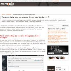 Sauvegarder son site Wordpress, mode d'emploi