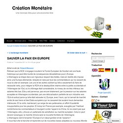 SAUVER LA PAIX EN EUROPE