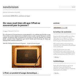 On vous avait bien dit que l'iPad ne sauverait pas la presse !