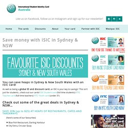 Save money with ISIC in Sydney & NSW
