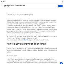 How To Save Money For Your Wedding Ring? on Behance