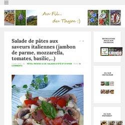 Salade de pâtes aux saveurs italiennes (jambon de parme, mozzarella, tomates, basilic,...) - Au Fil du Thym