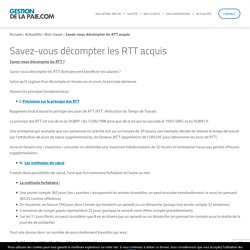 Savez-vous décompter les RTT acquis - Gestion de la Paie
