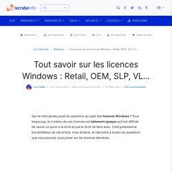 Tout savoir sur les licences Windows : Retail, OEM, SLP, VL... - Le Crabe Info