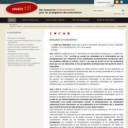 Savoirs CDI: Orientation