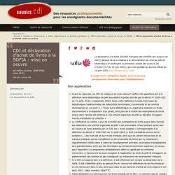 Savoirs CDI: CDI et déclaration d'achat de livres à la SOFIA : mise en oeuvre