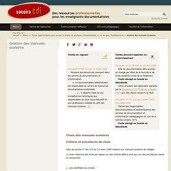 Savoirs CDI: Gestion des manuels scolaires