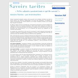 Savoirs tacites - Mémoire sur les savoirs tacites par Ariel Doulière