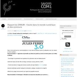 Rapport du CNNUM : l'école dans le monde numérique et des communs