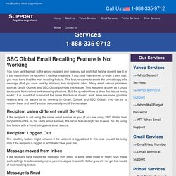 SBCGlobal Email Recalling Feature is Not Working