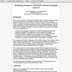 Bradley - Scaffolding Academic Learning for Second Language Learners