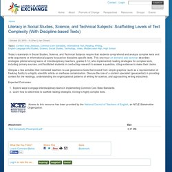 Literacy in Social Studies, Science, and Technical Subjects: Scaffolding Levels of Text Complexity (With Discipline-based Texts)