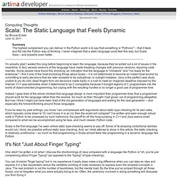 Scala: The Static Language that Feels Dynamic