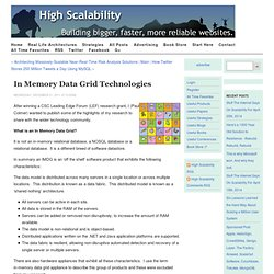 In Memory Data Grid Technologies