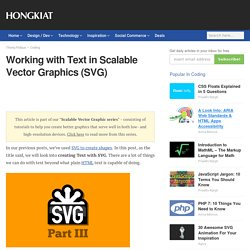 Scalable Vector Graphics: Working with Text