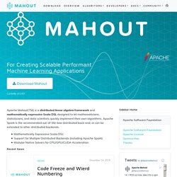 Apache Mahout:: Scalable machine-learning and data-mining library