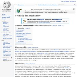 Scandale des Bacchanales