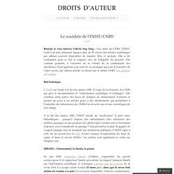Le scandale de l'INIST/CNRS « Droits d'auteur