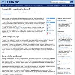 Scannability: organizing for the web