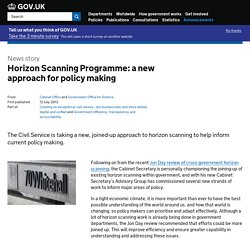Horizon Scanning Programme: a new approach for policy making