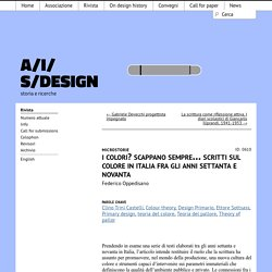 I colori? Scappano sempre… Scritti sul colore in Italia fra gli anni settanta e novanta - AIS/Design